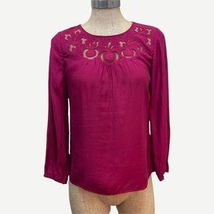 BODEN Magenta Mesh Cutout Silk Blend Top 4